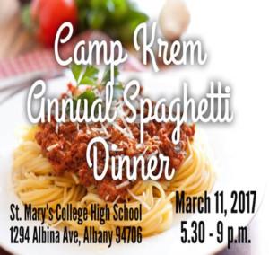Camp Krem Annual Spaghetti Dinner @ St. Mary's College High School