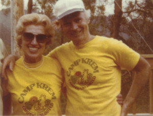 Alex and Elsie in Camp Krem T-shirts